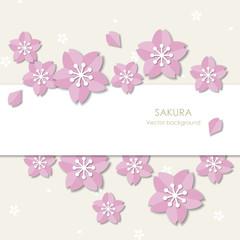 Paper style sakura background