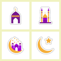 Label icon on design sticker collection ramadan Arabic assembly