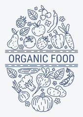 Healthy Organic eco vegetarian food design vector template. Ecology Health eco Organic fresh from farm vegetables concept.