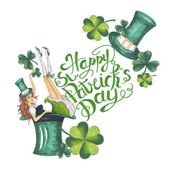 Happy Patrick's Day Illustration Hand-Painted Green Shamrock