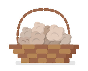 Wicker Basket with Truffles Flat Vector Icon