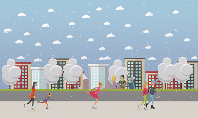 Vector illustration of people skating at ice rink, flat style.