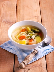 Chicken noodle soup with broccoli