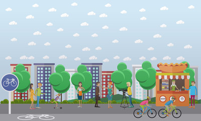 Vector illustration of people doing interview in the street