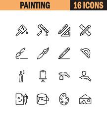 Painting flat icon set.