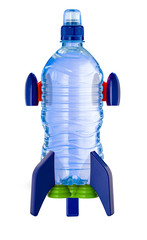 Water bottle in the form of a rocket isolated on white