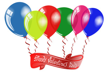 Happy Valentine's day. Hand Drawing Vector Lettering design. Air Balloons with inscription on the red ribbon. Illustrate a white background isolated. Concept for congratulations card.