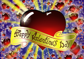 Happy Valentine's day congratulations card design. The inscription on the gold ribbon. Colorful vector illustration with bright rays of light and Realistic glass red heart on background.