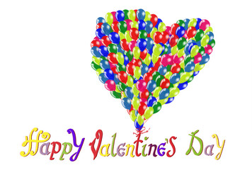 Happy Valentine's day. Hand Drawing Vector Lettering design. Balloons in the shape of a heart on a white background isolated. Concept for congratulations card.
