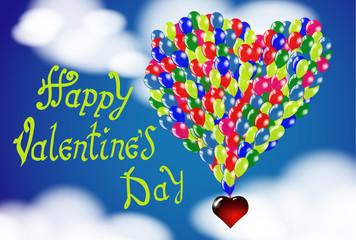 Happy Valentine's day. Hand Drawing Vector Lettering design. Balloons in the shape of a heart on a background of the cloudy sky. Concept for congratulations card.