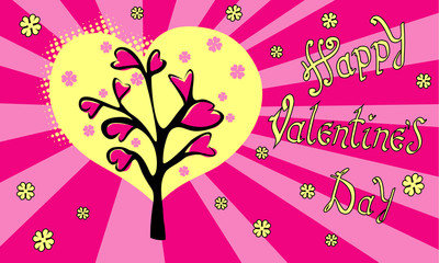 Happy Valentine's day. Hand Drawing Vector Lettering Pop art design. The inscription on pink background with Love tree and hearts.  . Concept for congratulations card.