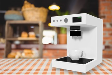 Composite image of coffee maker machine in white 3d