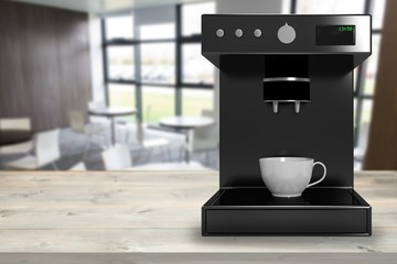 Composite image of black coffee maker machine 3d