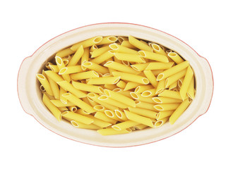 Organic raw penne pasta isolated on white