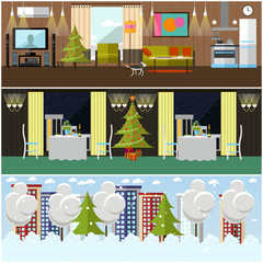 Vector set of banners with home, restaurant interiors, winter cityscape