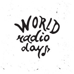 Hand drawn lettering World Radio Day.