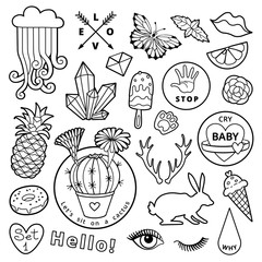 Black and white fashion patch badge elements in cartoon 80s-90s comic style. Set modern trend doodle sketch.