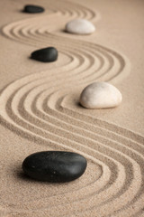 Perspective of the stones on the sand.
