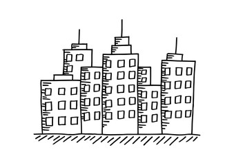 City drawing on white background
