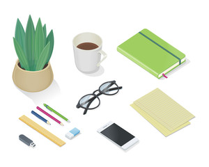 Top view of desk with personal accessories Vector