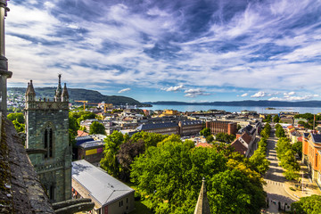Poster Monument July 28, 2015: Trondheim seen from the roof of Nidaros Cathedral