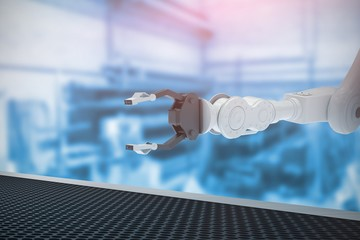 Composite image of robotic hand with metal claw 3d