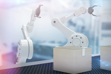 Composite image of digital image of robotic hand with claw 3d