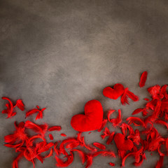Valentine's Day - red hearts on a gray background