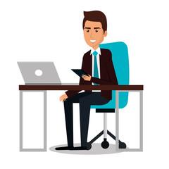 businessman working in computer vector illustration design