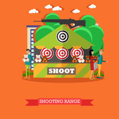 Vector illustration of shooting range attraction in flat style.