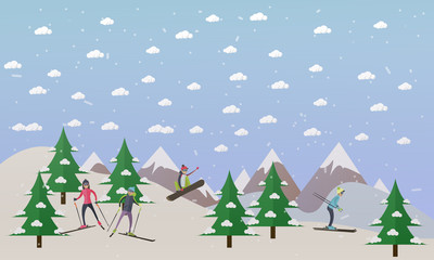 Vector illustration of ski track and people skiing, flat design