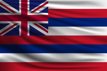 The national flag of hawaii. The symbol of the state on wavy silk fabric. Realistic vector illustration.