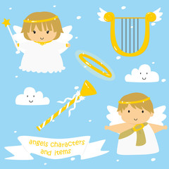 cute vector set of male and female angels with harp, trumpets, and halo