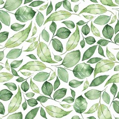 Seamless pattern with beautiful green watercolor leaves 4