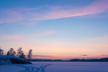 Serene sunset sky at winter