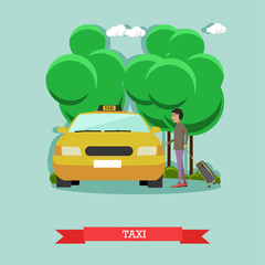 Vector illustration of taxi and passenger in flat style.