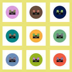 Collection of stylish vector icons in colorful circles building prison