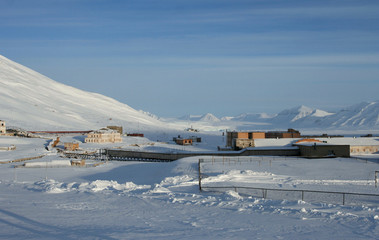 The Soviet abandoned town Pyramiden, which is located on Svalbard archipelago.