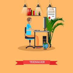 Modern gadgets and teenager concept vector illustration in flat style.