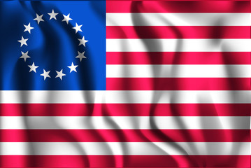 American Betsy Ross Flag. Rectangular Shaped Icon with Wavy Effe