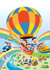 ファミリー旅行、家族旅行、気球家族