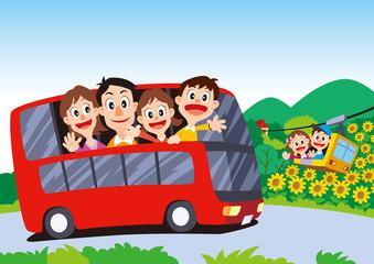 家族旅行、バス旅行、バス家族旅行