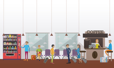 Vector illustration of airport waiting hall, cafe, passengers, flat style.