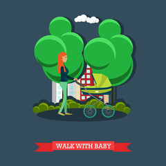 Walk with baby concept vector illustration, flat design