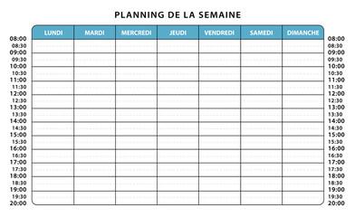 Planning professionnel ou scolaire. Emploi du temps semaine.