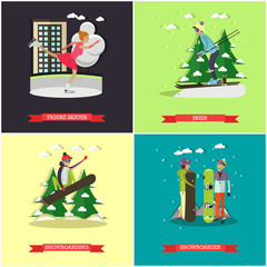 Vector set of winter sports concept posters, banners, flat style