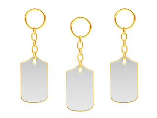 Set of blank key chains with golden key rings isolated on white background. 3D illustration