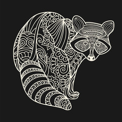 Raccoon hand drawn doodle animal. Ethnic patterned vector illustration.