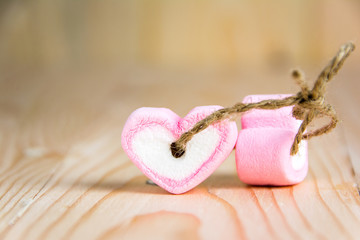 two heart shape marshmallow pink for love and valentines day con