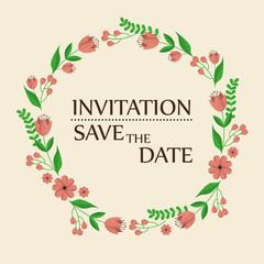 floral invitation save the date vector illustration design